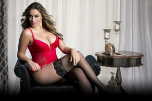 V-Plunge Satin Skirted Teddy wSnap Crotch Red